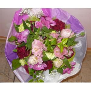 Piękny bukiet w tonacji purpurowo-różowej