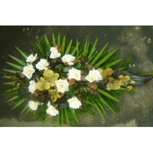 wiązanka nagrobna róża ecri + storczyk